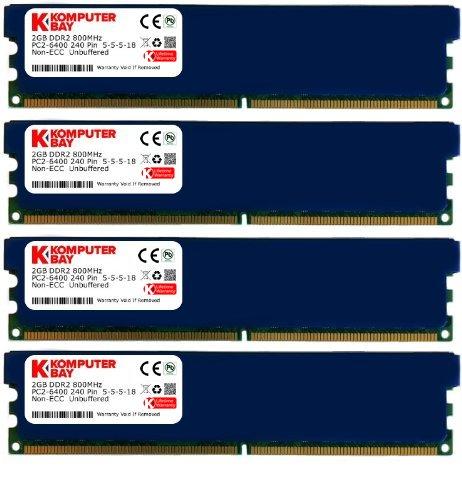 - Komputerbay 8GB (4x 2GB) DDR2 800MHz PC2-6300 6400 RAM (240 Pin) DIMM 5-5-5-18 Desktop Memory with Heatspreaders