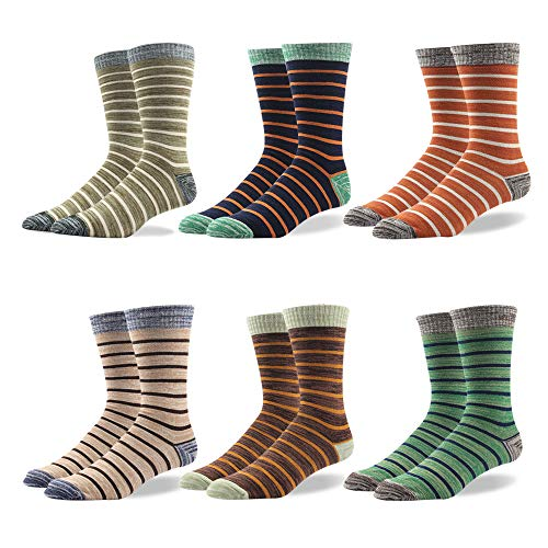 Odor Resistant Business Dress Men's Crew Socks Stripe Men Gift -Funky Colors Novelty Style Pattered (BSK04X-5 Pairs Striped classic, US Men Size 10.5-14/EU 44.5-49) (49 Patterns)