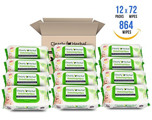 Clearly Herbal Gentle Baby Wipes 72 count ( 72 count x 12 packs = 864 wipes / case) ) by Clearly Herbal