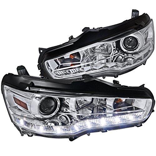 Spec-D Tuning 2LHP-EVO08-8-TM Mitsubishi Lancer EVO 10 Chrome Clear R8 SMD LED DRL Projector Headlights
