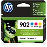 HP 902 | 3 Ink Cartridges | Cyan, Magenta, Yellow | T6L86AN, T6L90AN, T6L94AN (T0A38AN#140) (Packaging May Vary)