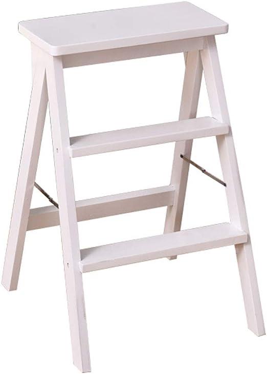 Plegables pasos de escalera Taburete portátil plegable Multiuso Silla de madera pequeña Escalera Casa creativa Escalera de tijera Carga máxima 150 kg, en blanco: Amazon.es: Hogar