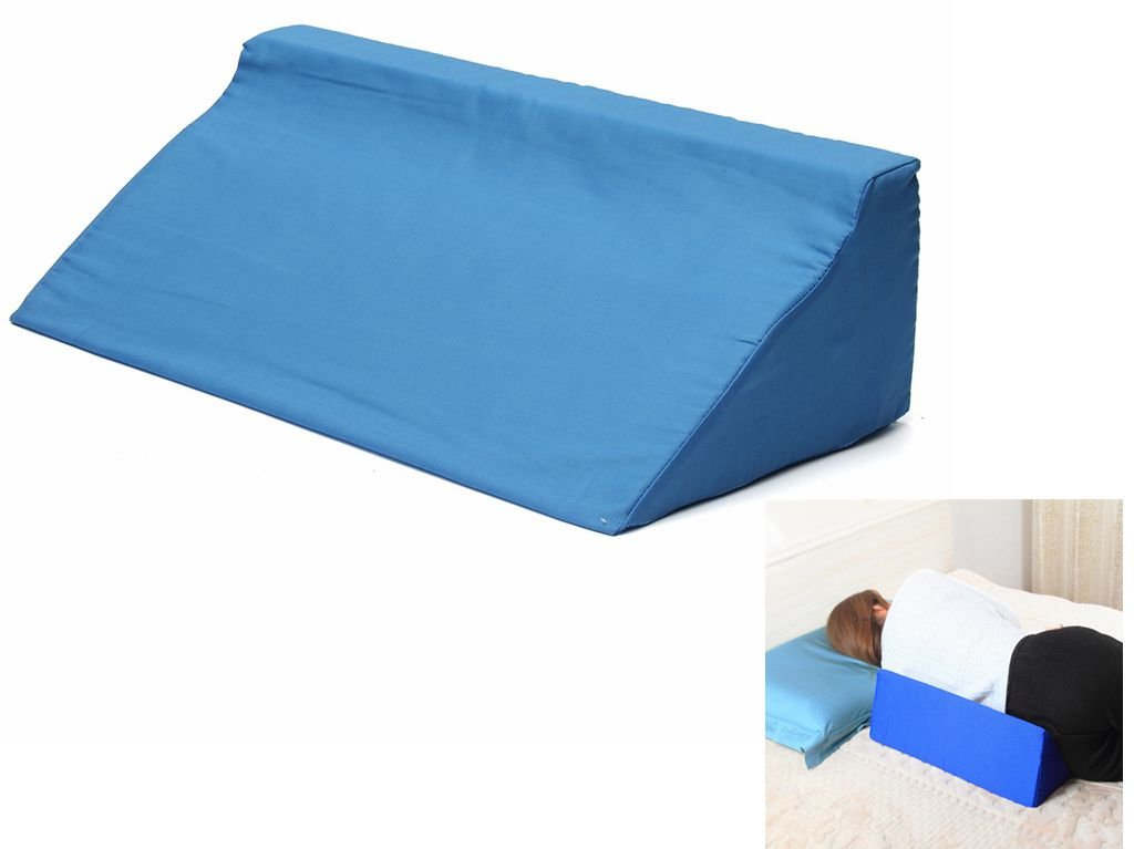 Essort Foam Bed Wedge Pillow Leg Elevation Back Lumbar Support Cushions, Great For Pain Relief, White Blue 9''Wx19''Lx6''H Blue