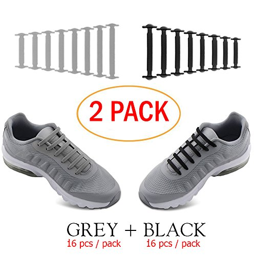 No Tie Shoelaces for Men and Women - Best in Sports Fan Shoelaces – Waterproof Silicon Flat Elastic Athletic Running Shoe Laces with Multicolor for Sneaker Boots Board Shoes and Casual (Black + Grey)