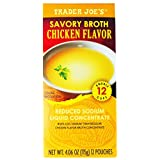 Trader Joe's Savory Broth Chicken Flavor, Reduced Sodium Liquid Concentrate, Net Wt. 4.06 oz. (115g), 12 Pouches, 1 Box
