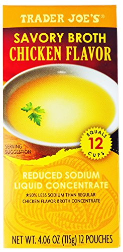 Trader Joe's Savory Chicken Broth,4.06 OZ (115g) 12 pouches per box