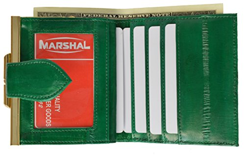 Eel Green (French Frame Eel skin Wallet for Women (Green))