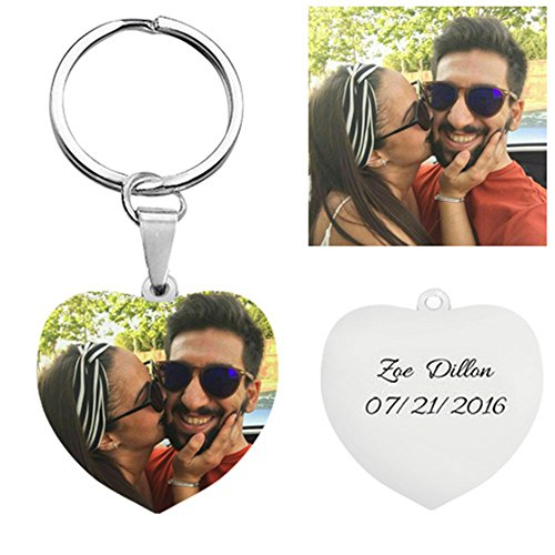 (Customize Photo Keychain Titanium Steel Heart Shaped Memory Gift Key Ring For Fathers Day Gifts - Black and White)