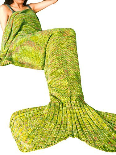 [FEESHOW Mermaid Tail Blanket Handcrafted Crochet Knitting All Seasons Soft Sleeping Bag Rug for Adult & Teens - Turquoise Yellow (Size Large, 87