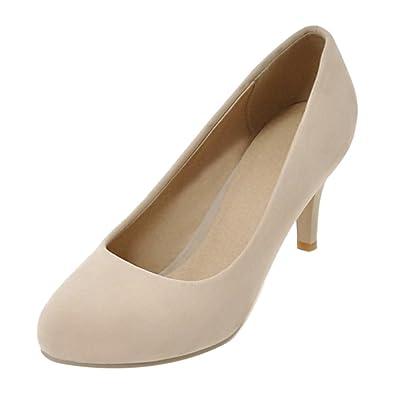 Coolcept Zapato Mujer Simple Tacon de Aguja Sin Cordones Tacon Ancho Medio Court Zapatos (39 EU, Red)