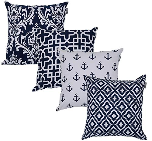 ACCENTHOME Accent Home Square Printed Cotton Cushion Cover,Throw Pillow Case, Slipover Pillowslip for Home Sofa Couch Chair Back Seat,4pc Pack 18x18 in Navy Color