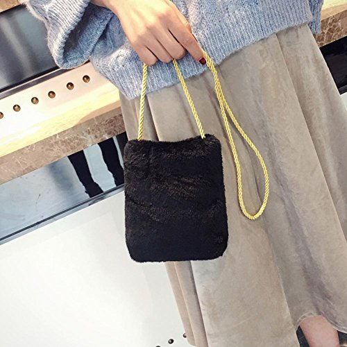 Widewing Women Small Bag Hemp Black Crossbody Girls Cute Plush Handbag for Korean wBCw71