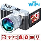 Vlogging Camera Digital Cameras, VideoSky FHD 1080P 24MP 16X Digital Zoom Video Cameras for YouTube WiFi Camcorder Recorder with Flip Screen, Wide Angle Lens, IPS Flip Screen,Flash Light (Silver)
