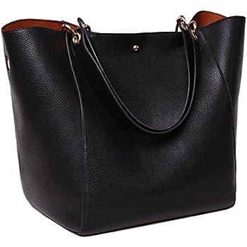 Tibes Fashion Waterproof Shoulder Bag Synthetic Leather Handbag Large Tote Black