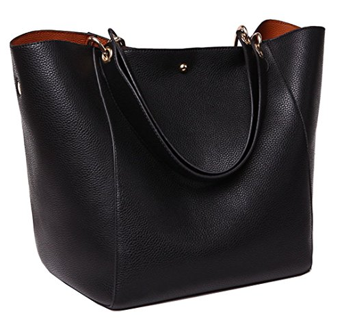 Large Black Handbag - Tibes Fashion Waterproof Shoulder Bag Synthetic Leather Handbag Large Tote Black