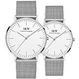 Couple Watches Quartz Simple Extra Flat Milanese Stainless Steel Mesh Band for Her or His Set of 2 (White)