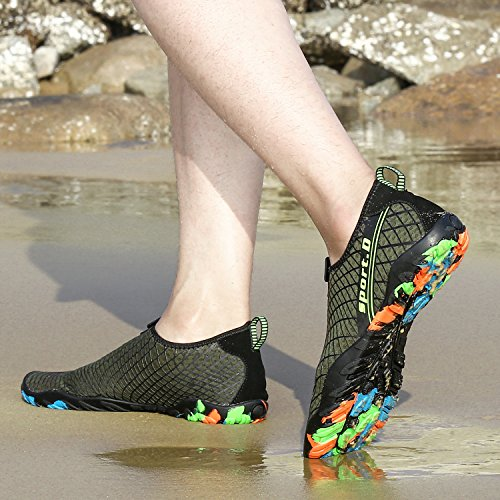 Water Shoes Mens Womens Quick Dry Aerobics Sports Aqua Shoes Beach Swim Shoes with Non-Slip Rubber Sole for Swimming Pool,Snorkeling,Boating,Surf,Yoga Purecolor-green