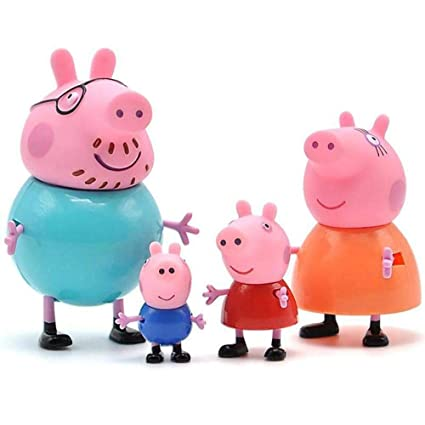 TOYQO Kid's Cute PVC Mini Pig Family Toy Set Sweet Gifts for Kids -Action Figure Toy-(4 pcs/Set)