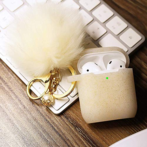 - Airpods Case - Filoto Airpods Silicone Glitter Cute Case Cover with Pompom/Keychain/Strap for Apple Airpods 2&1, 2019 Newest 360° Protective Air Pods Charging Case Cover (Gold)