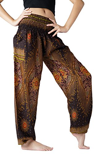 (Bangkokpants Women's Boho Pants Hippie Clothes Yoga Outfits Peacock Design One Size Fits (Brown))