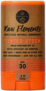 product image for Raw Elements Tinted Face Stick Certified Natural Sunscreen | Non-Nano Zinc Oxide, 95% Organic, Very Water Resistant, Reef Safe, Non-GMO, Cruelty Free, SPF 30+, All Ages Safe, Moisturizing, 0.6oz