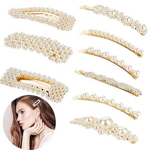 Bkpearl 9 Pcs Pearls Hair Clips, Handmade Decorative Hair Pins Hair Barrettes Hairpins for Girls Women Lady Bridal Weeding Valentines Day