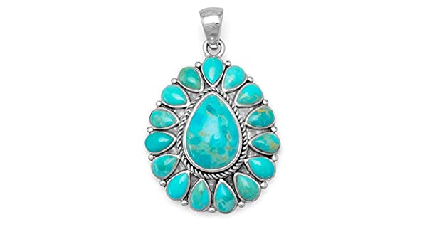 3x5mm Turquoise 1-3//8 in 9x13mm Center Turquoise including bail Oxidized Sterling Silver Pendant