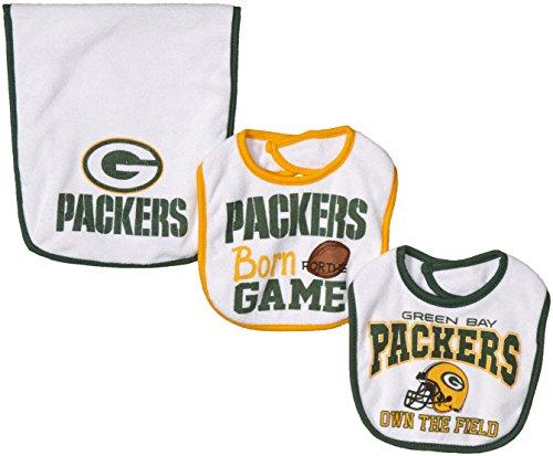 NFL Green Bay Packers Unisex-Baby 3-Piece Bib & Burp Cloth Set, White, One Size