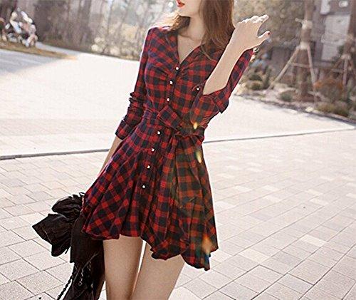 Wealsex Damen Frühling Sommer Stilvoll Schlank Gitter Kleid V-Ausschnitt lange Ärmel Gitter mit Gurt