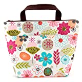 Lunch Bag Flower Lunch Box Insulated Lunch Bag with 2 Handles Lunch Bag for Women with Outside Pocket Flower Pattern