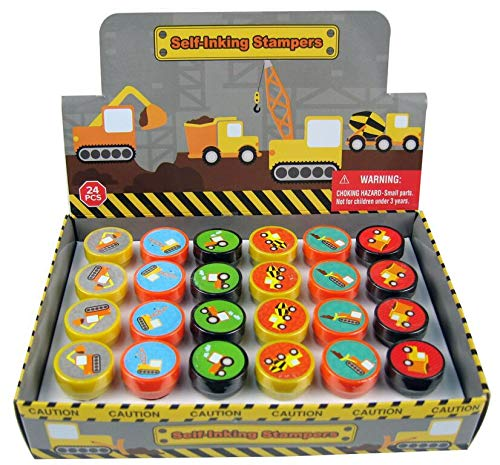TINYMILLS 24 Pcs Construction Trucks Stampers for Kids -