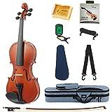 Eastar EVA-1 Full-Size 4/4 Violin Set For Beginner Student with Hard Case, Rosin, Shoulder Rest, Bow, Clip-on Tuner and Extra Strings