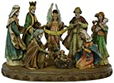 Eight Piece Resin Stone Mix Nativity Figures With Base [23951]