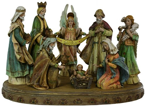 Eight Piece Resin Stone Mix Nativity Figures With Base [23951] by Nativity Scene Sets