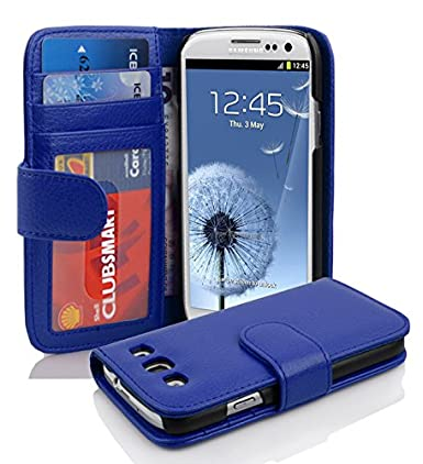 Cadorabo Book Case Works with Samsung Galaxy S3 / S3 NEO in Neptune Blue – with Magnetic Closure and 3 Card Slots – Wallet Etui Cover Pouch PU Leather ...