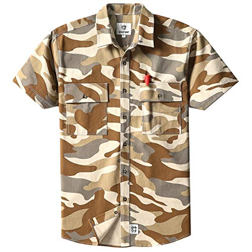 Men's Short Sleeve Canva Button-Up Work Shirt Desert Camo X-Large