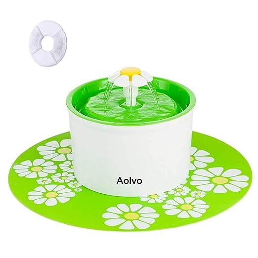 AOLVO Bebedero Automático Silencio, Fuente de Agua para Perros/Gatos, con 1.6L Circulante, 2 Filtros,1 Margaritas y 1 Estera de Silicona (Verde)