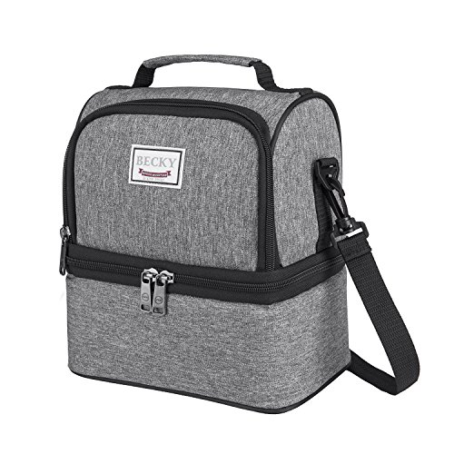 BECKY for Men & Women, Waterproof Large Coole Tote Bag for Work/School/Picnic with Double Deck Spacious Compartments Detachable Shoulder Strap, 9.8 inch9.5 inch 6.3inch, Gray
