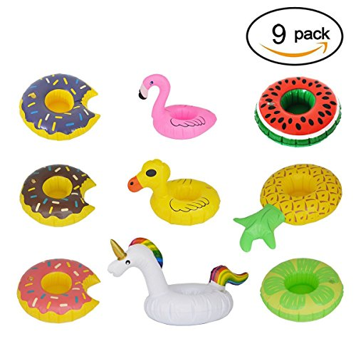 Inflatable Drink Holders, HOMEWE 9Packs Drink Floats Fruit Donuts Duck Flamingo Unicorn Cup Holders Pool Floaties Bar Party Drink Holder Supply for Pool Party, Bath Toys Shower