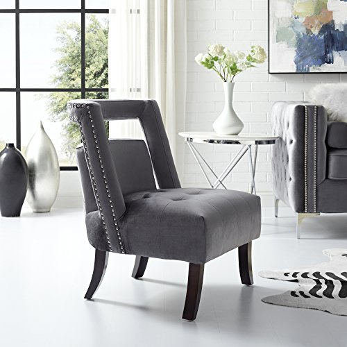 Salvador Grey Velvet Accent Chair – Armless Slipper | Button Tufted | Nailhead | Inspired Home Review