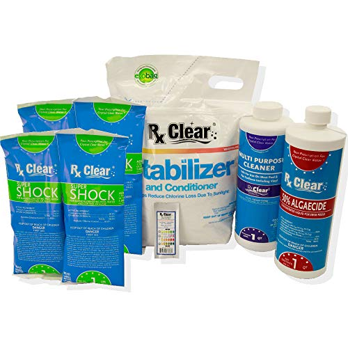 Rx Clear Spring Start-Up Kit | Chemicals for Opening Swimming Pools | Above or Inground | for Pools Up to 30,000 - Treatment Water Pool