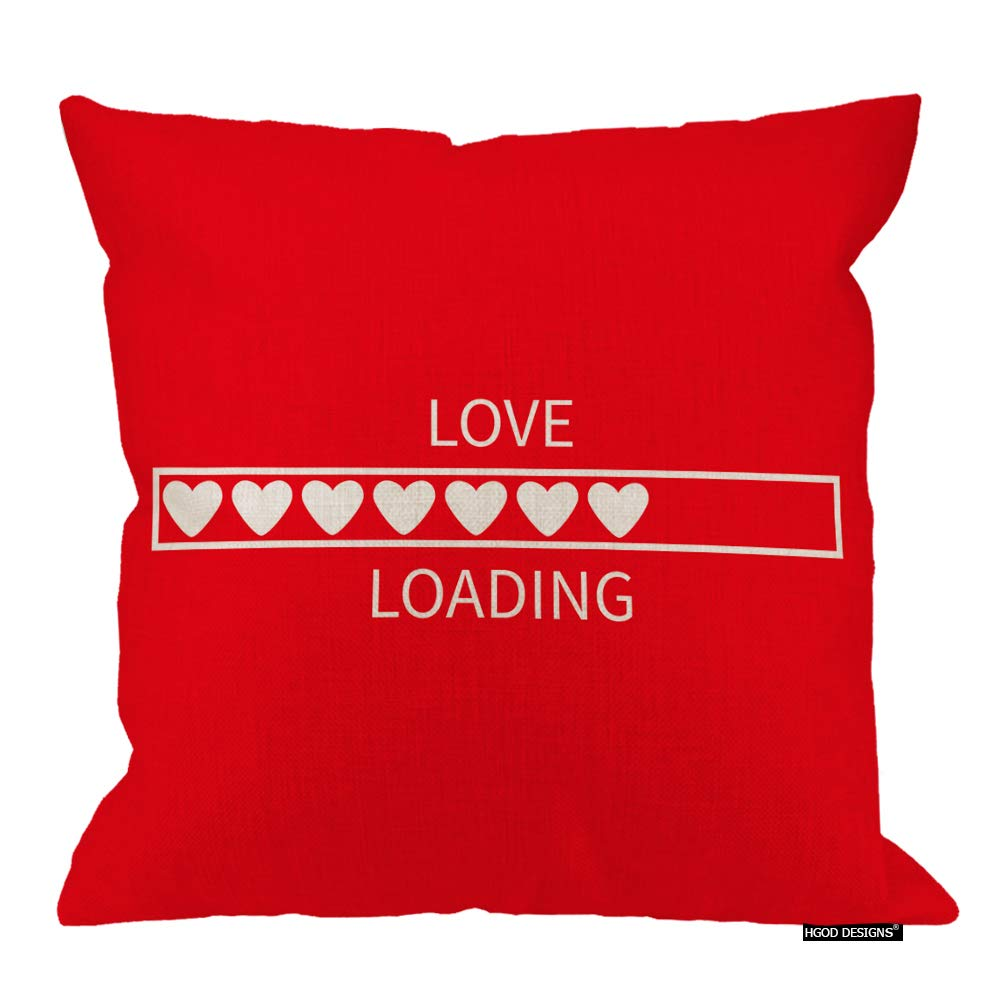 HGOD DESIGNS Love Pillow Cover,Valentines Day Funny Love Loading Design Cotton Linen Cushion Covers Home Decorative Throw Pillowcases 18x18inch