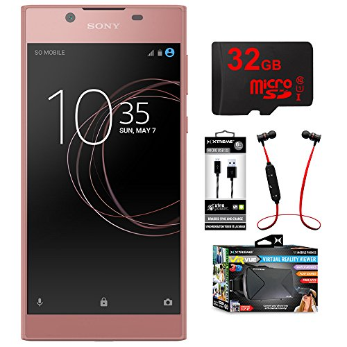 Sony Xperia L1 16GB 5.5-inch Smartphone Unlocked Pink (1308-0910) with 32GB MicroSD Memory Card, Mesh Sync & Charge 6ft Micro USB Cable, Fusion Bluetooth Headphones & VR Vue Virtual Reality Viewer