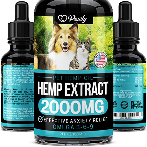 Hemp Oil Stress & Anxiety Relief for Dogs and Cats - 16.6 MG Blend per Serving - Grown & Made in USA - Premium Pet Complex for Hip & Joint & Inflammation Support - Pet Omega 3, 6 & 9