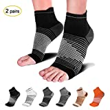 Compression Socks Sleeves (2 Pairs) for Heel Pain Relief, Best Compression Foot Sleeves Socks with Arch Support for Plantar Fasciitis, Heel Pain, Foot & Ankle Support. Injury Recovery for Sports