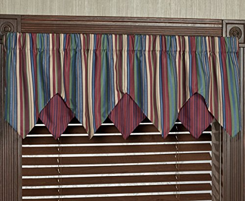 Touch of Class Brighten Layered Ascot Valance Multi Jewel 60 x 18 ()
