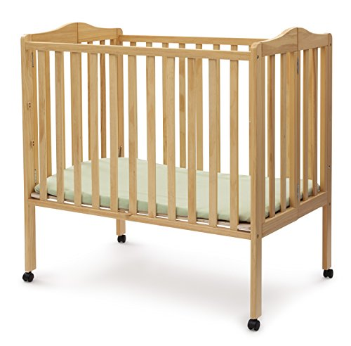 Infant Wood Crib - Delta Children Folding Portable Mini Baby Crib with Mattress, Natural