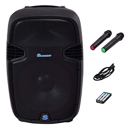 Suono Powered Speakers, 2-Way Full Range Portable DJ/PA Speaker System Set With Microphones/ USB/Bluetooth (12