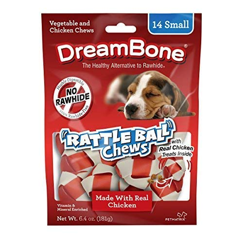 (DreamBone Chicken Rattle Ball Dog Chew Rawhide Free Chews MegaPACK 5Pack (Small 14 Pieces/Pack)-Lqh)
