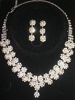 c8dbd115d1765 ホワイトローズブライダル ウエディングネックレス超豪華揺れるパールの輝きネックレス+イヤリング